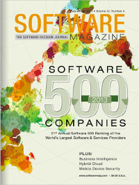 Software Magazine Cover for September 2013, Volume 32, Number 4; showcasing the 2013 ranking for the 500 largest software and service providers.
