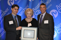 Chris Durand, Brenda Hall and John Brooks with 2013 International Service Award Certificate