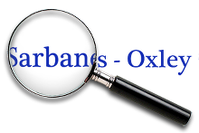 Magnifying glass over words 'Sarbanes-Oxley'.